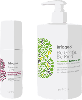 Briogeo Farewell Frizz and Be Gentle Be Kind bottle illustrations