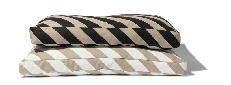 Linen Diagonal Stripe Dog Mattress Bed