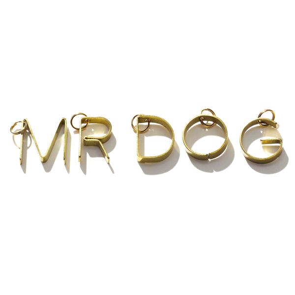 Brass Initial Dog Tag