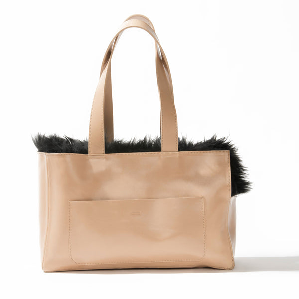 Sheepskin Dog Travel Tote Bone