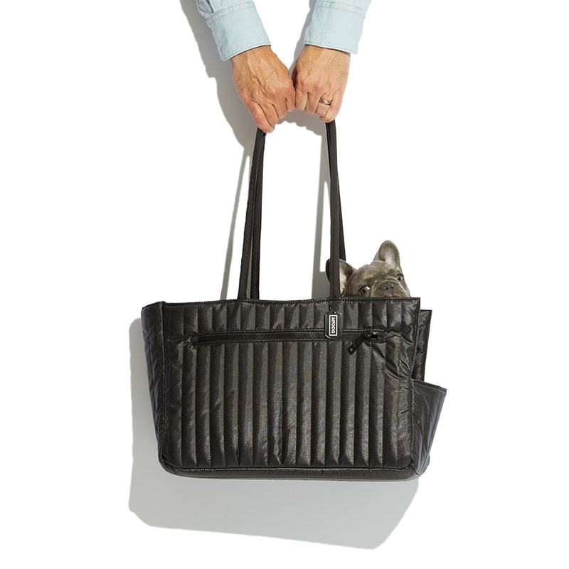 NYLON QUILTED DOG TRAVEL TOTE BLACK