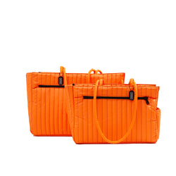 NYLON QUILTED DOG TRAVEL TOTE ORANGE