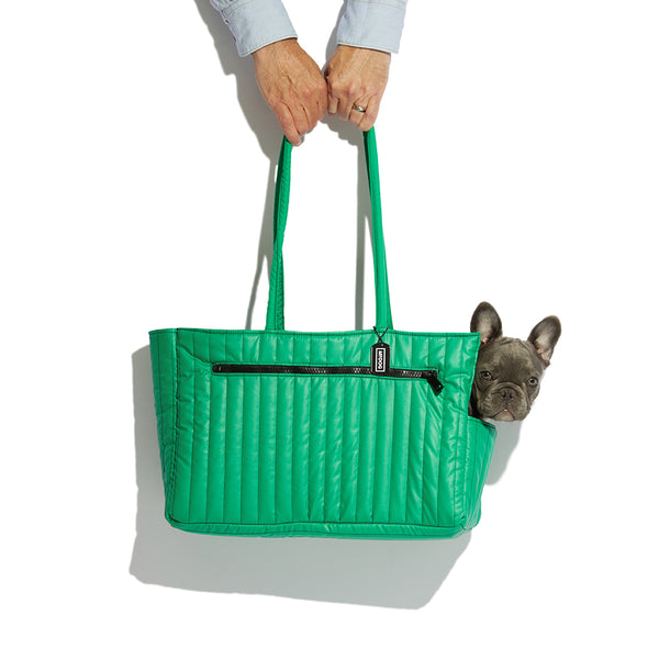 NYLON QUILTED DOG TRAVEL TOTE GREEN