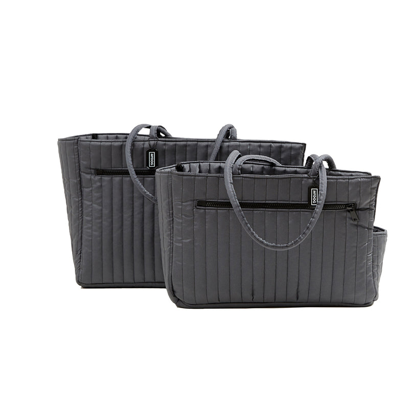 NYLON QUILTED DOG TRAVEL TOTE GREY