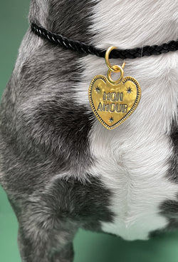 Personalized Mon Amour Brass Dog Charm