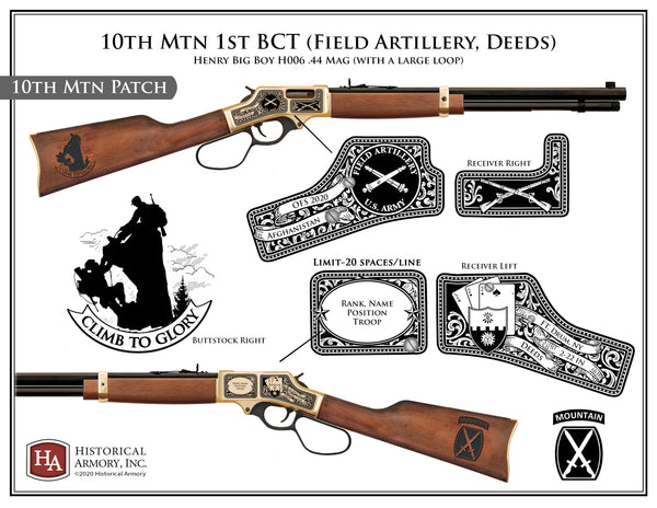 10th Mtn 1st BCT (Field Artillery, 10th Mtn Patch, Deeds, 2-22 IN) .44 Mag