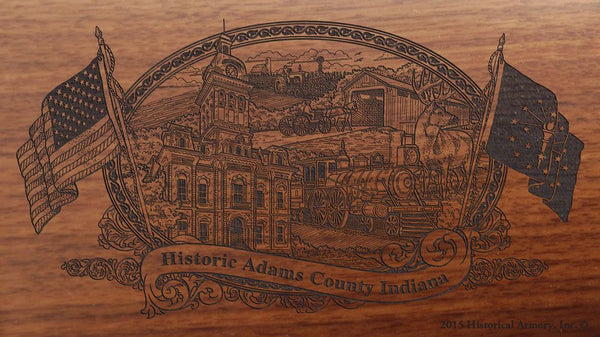 Adams county indiana engraved rifle buttstock