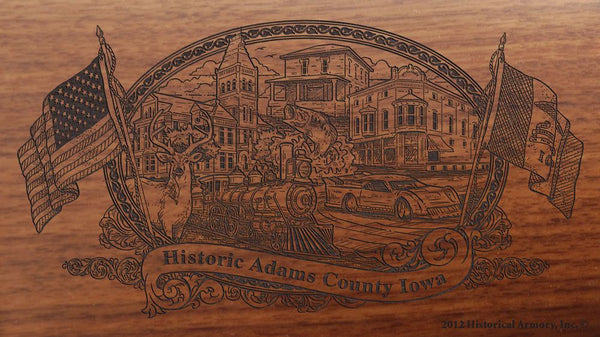 Adams county iowa engraved rifle buttstock