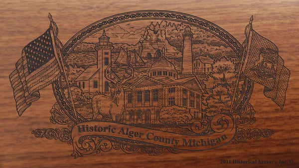 Alger county michigan engraved rifle buttstock