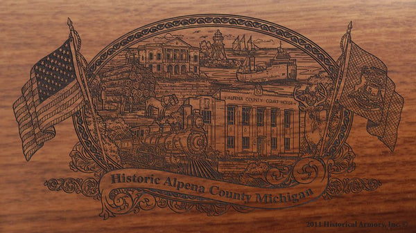 Alpena county michigan engraved rifle buttstock