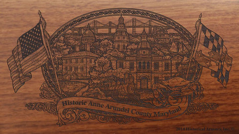 Anne Arundel county maryland engraved rifle buttstock