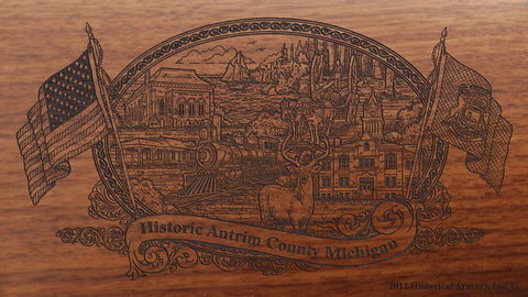 Antrim county michigan engraved rifle buttstock