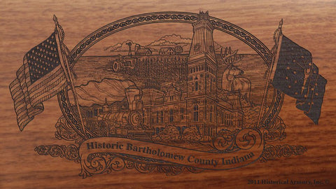 Bartholomew county indiana engraved rifle buttstock