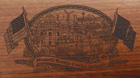 Benton county indiana engraved rifle buttstock