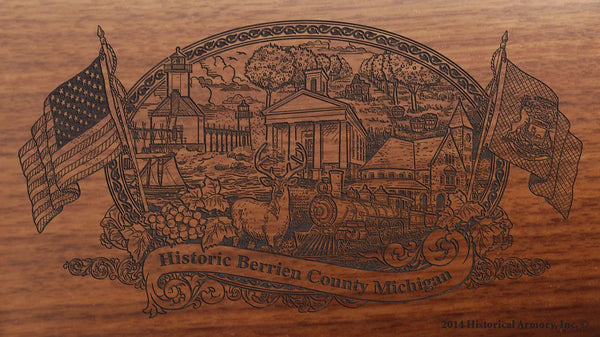 Berrien county michigan engraved rifle buttstock