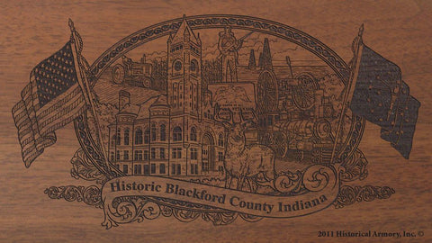 Blackford county indiana engraved rifle buttstock