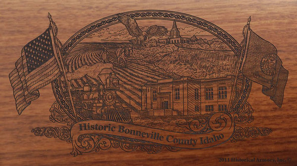 Bonneville county idaho engraved rifle buttstock