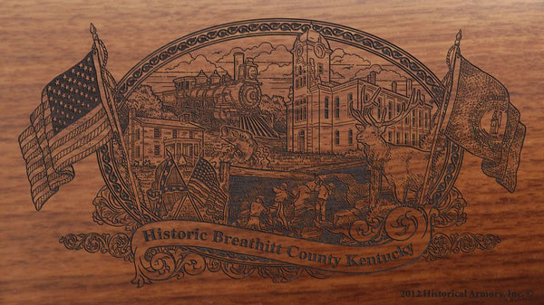 Breathitt county kentucky engraved rifle buttstock