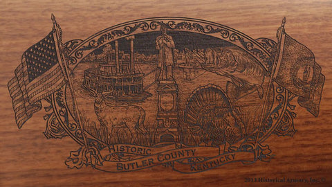 Butler county kentucky engraved rifle buttstock