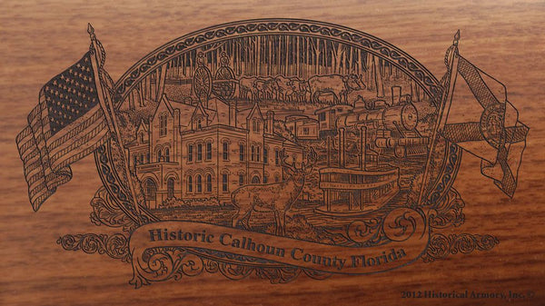 Calhoun county florida engraved rifle buttstock