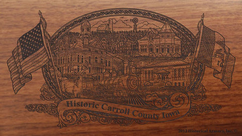 Carroll county iowa engraved rifle buttstock