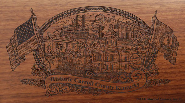 Carroll county kentucky engraved rifle buttstock