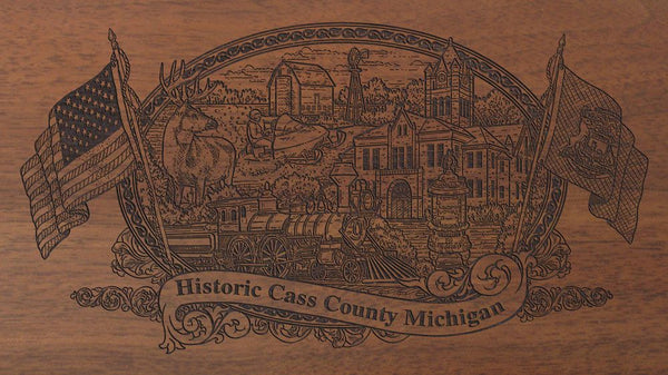 Cass county michigan engraved rifle buttstock