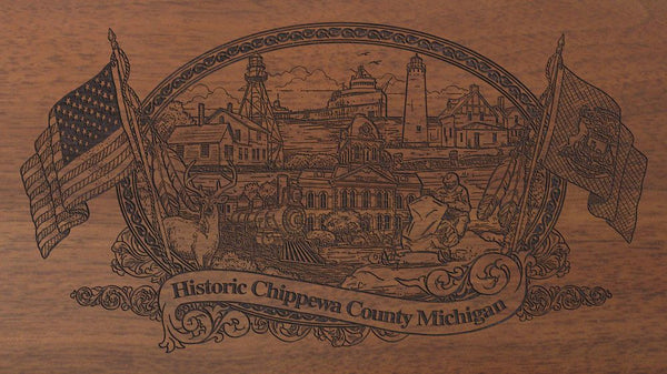 Chippewa county michigan engraved rifle buttstock
