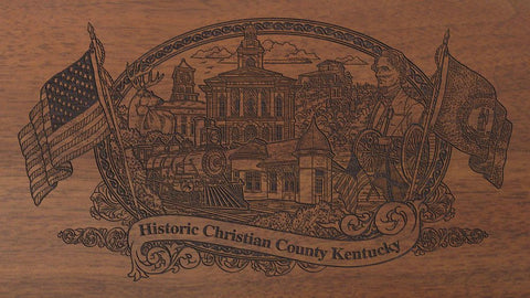 Christian county kentucky engraved rifle buttstock