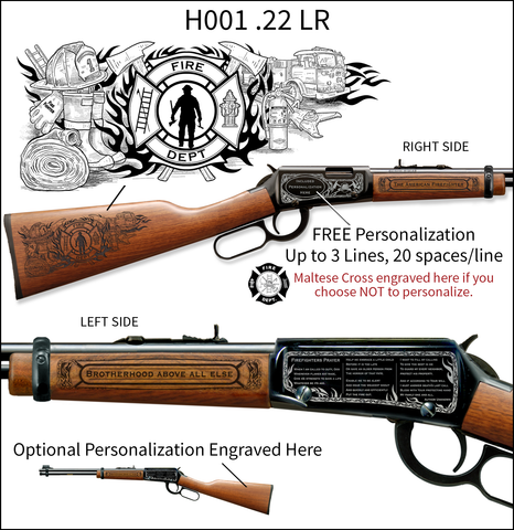 Classic American Firefighter Engraved Rifle