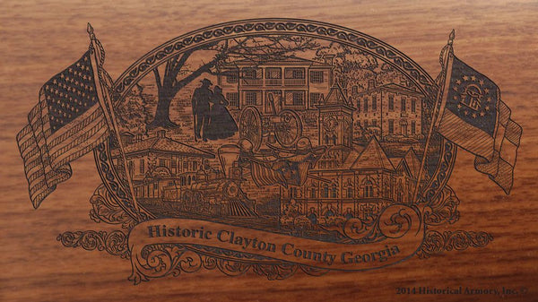 Clayton county georgia engraved rifle buttstock