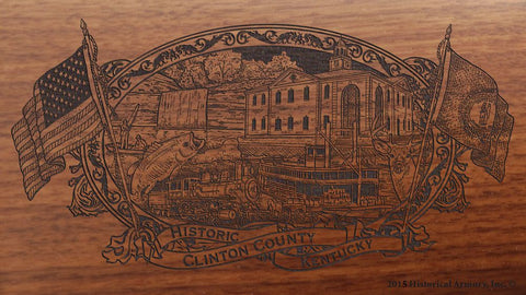 Clinton county kentucky engraved rifle buttstock