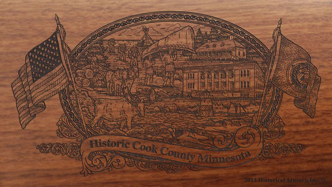 Cook county minnesota engraved rifle buttstock