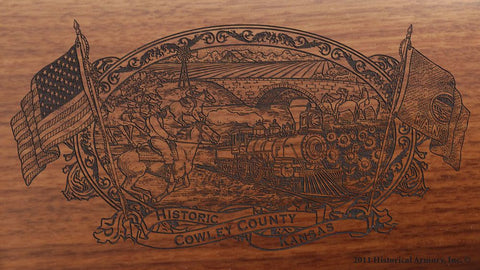 Cowley county kansas engraved rifle buttstock