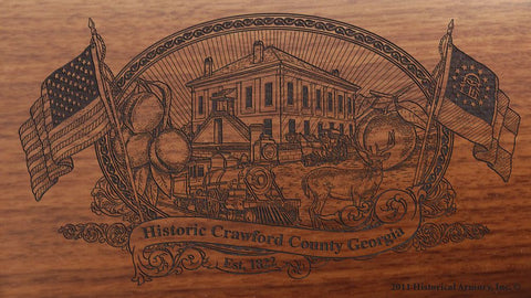 Crawford county georgia engraved rifle buttstock