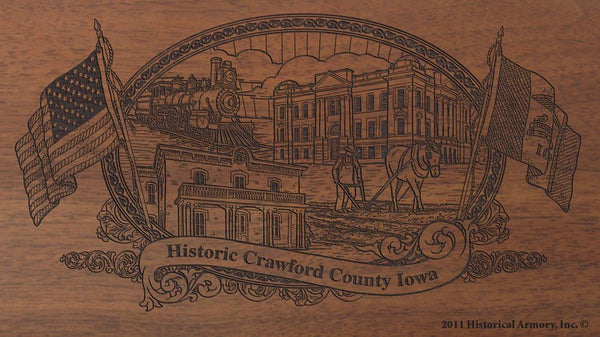 Crawford county iowa engraved rifle buttstock