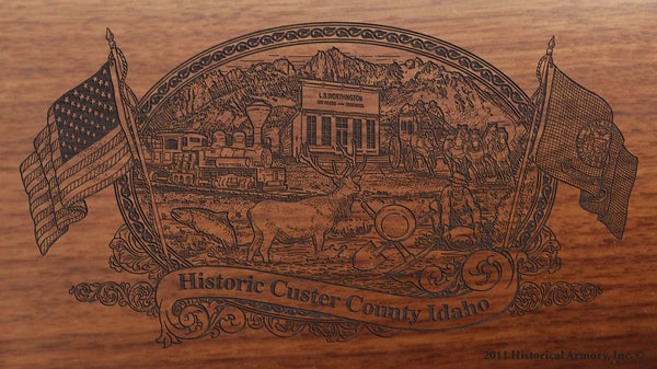Custer county idaho engraved rifle buttstock