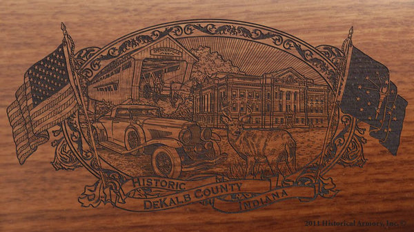 DeKalb county indiana engraved rifle buttstock