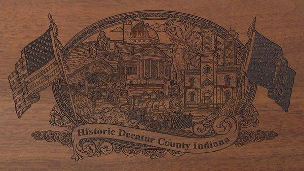 Decatur county indiana engraved rifle buttstock