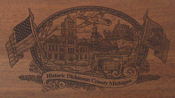 Dickinson county michigan engraved rifle buttstock