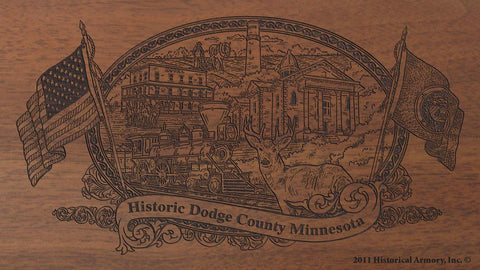 Dodge county minnesota engraved rifle buttstock