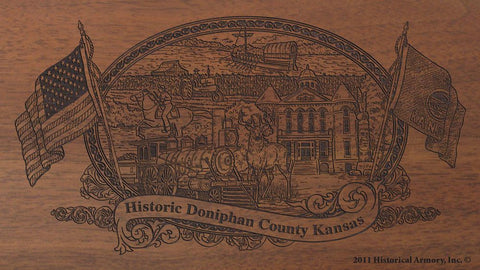 Doniphan county kansas engraved rifle buttstock