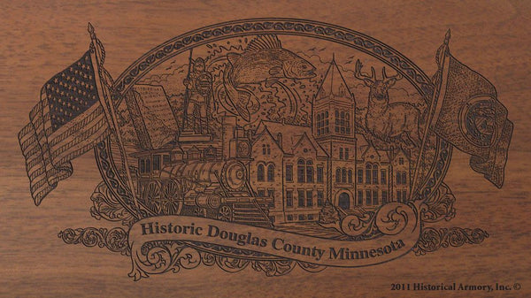 Douglas county minnesota engraved rifle buttstock