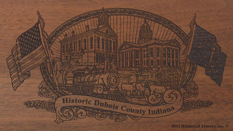 Dubois county indiana engraved rifle buttstock