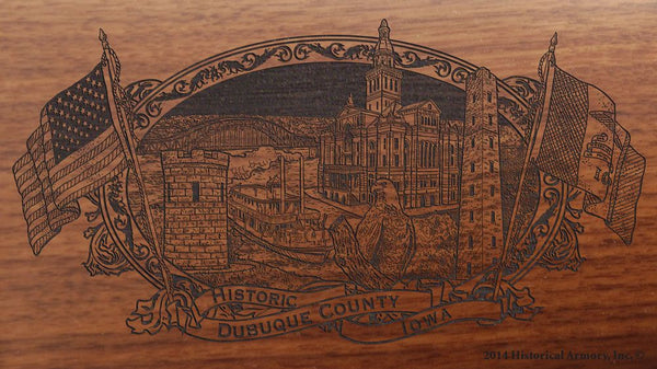 Dubuque county iowa engraved rifle buttstock