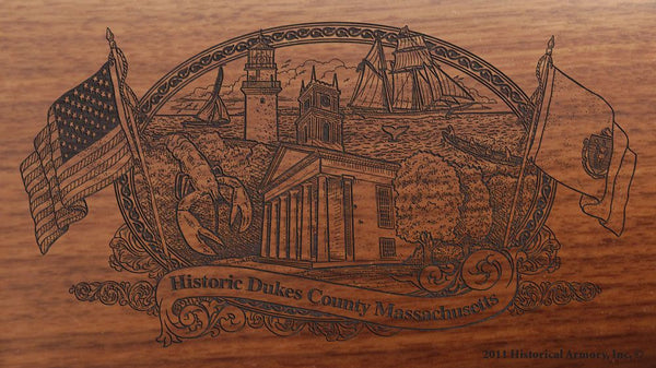 Dukes county massachusetts engraved rifle buttstock