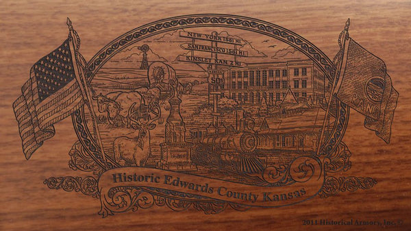 Edwards county kansas engraved rifle buttstock