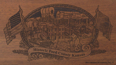 Ford county kansas engraved rifle buttstock