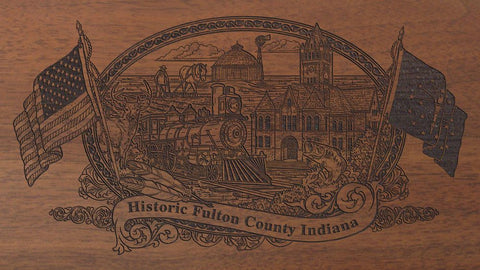 Fulton county indiana engraved rifle buttstock