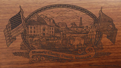 Glacier county montana engraved rifle buttstock